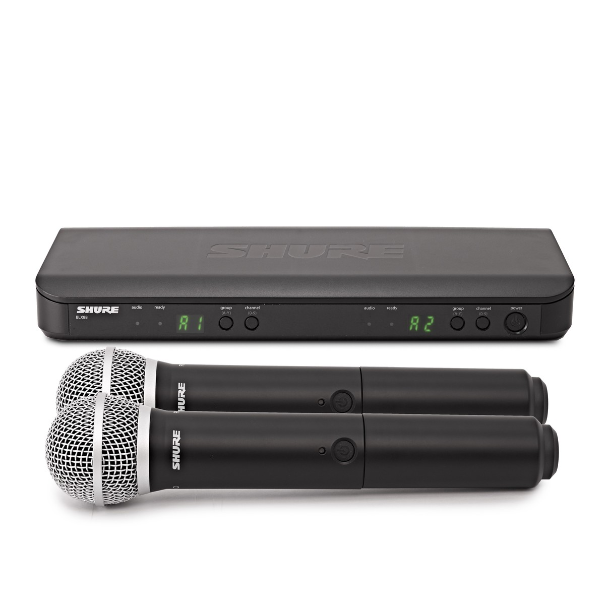 shure blx288uk pg58 k3e dual handheld wireless microphone system at gear4music. Black Bedroom Furniture Sets. Home Design Ideas