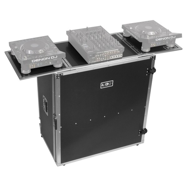 UDG FlightCase Fold Out DJ Table Plus (Wheels), Silver - Angled Top (Equipment Not Included)
