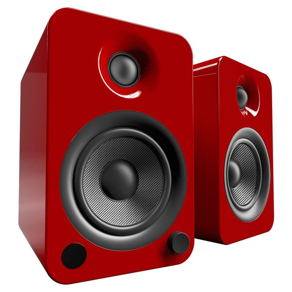 Kanto YU4 Powered Bookshelf Speakers, Gloss Red - Angled
