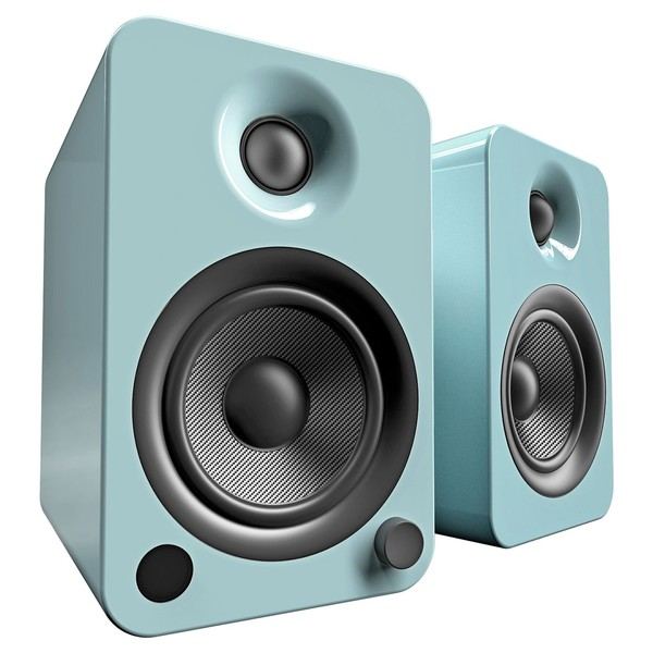Kanto YU4 Powered Bookshelf Speakers, Gloss Teal - Angled