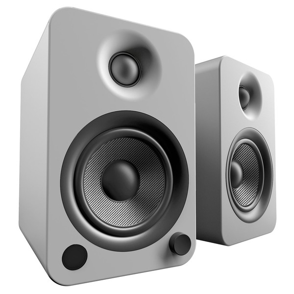Kanto YU4 Powered Bookshelf Speakers, Matte Grey - Angled