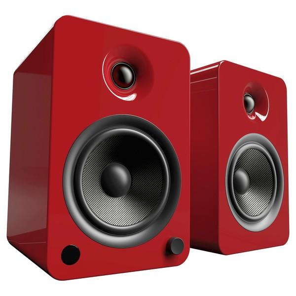 Kanto YU6 Powered Bookshelf Speakers, Gloss Red - Angled