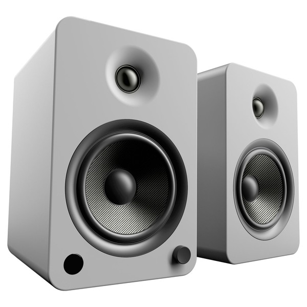 Kanto YU6 Powered Bookshelf Speakers, Matte Grey - Angled