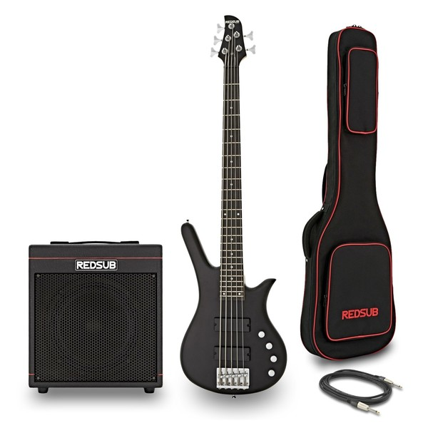 RedSub FN5 5 String Bass and BA-30 Amp Bundle, Black