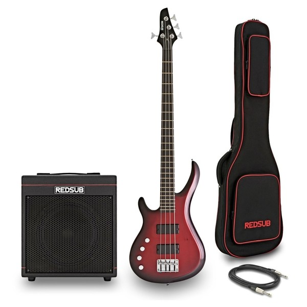 RedSub IN Left Handed Bass and BA-30 Amp Bundle, Trans Red Burst