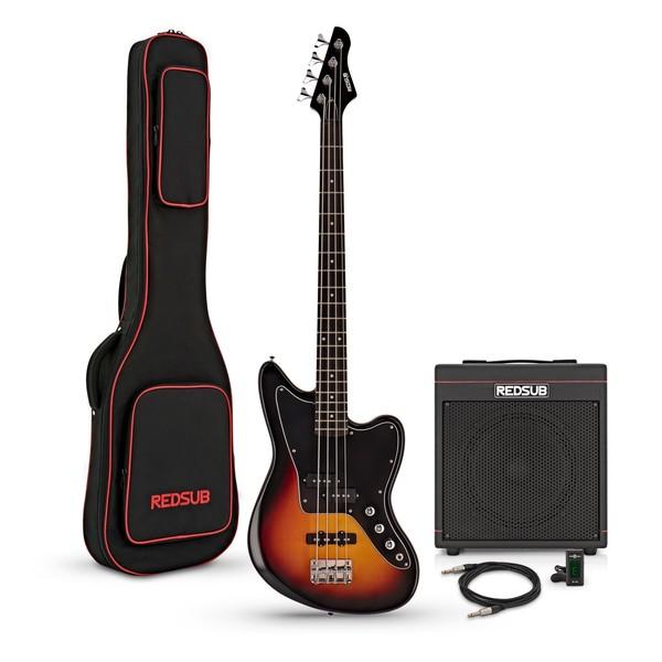 RedSub SF Bass Guitar and BA-30 Amp Bundle, Sunburst