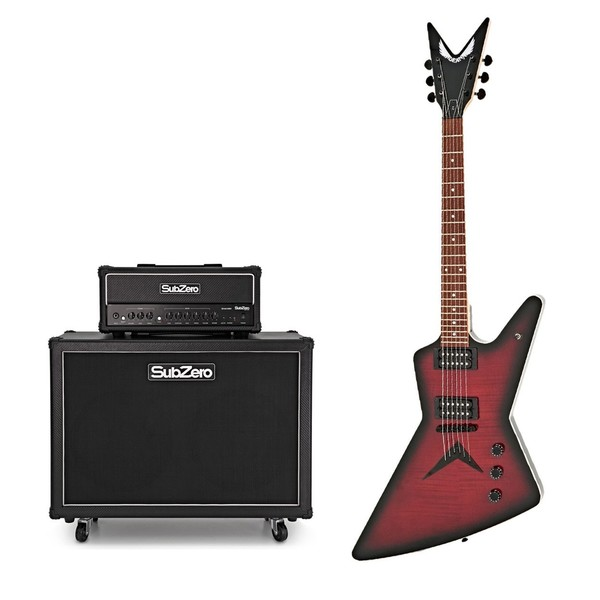 Dean ZX Flame Top, Trans Red w/ SubZero SA-100 2x12 Stack