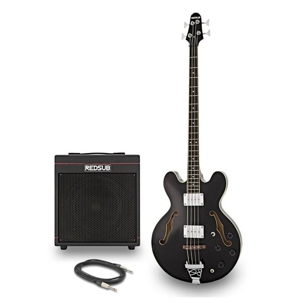 RedSub HB Bass Guitar and BA-30 Amp Bundle, Jet Black