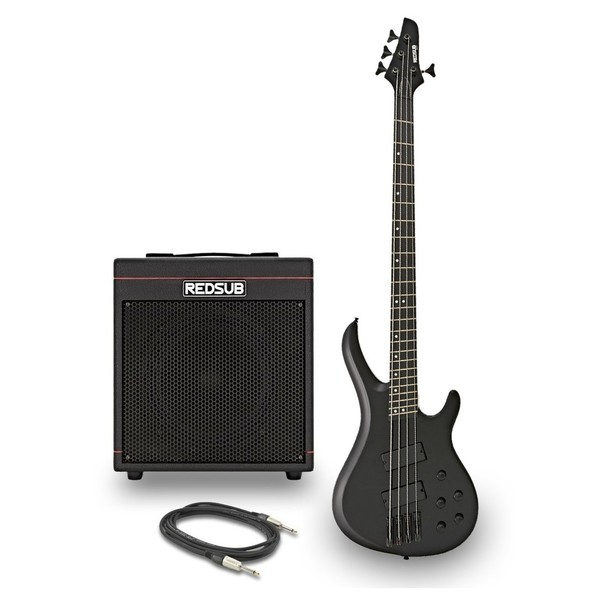 RedSub INF Fanned Fret Bass and BA-30 Amp Bundle, Black