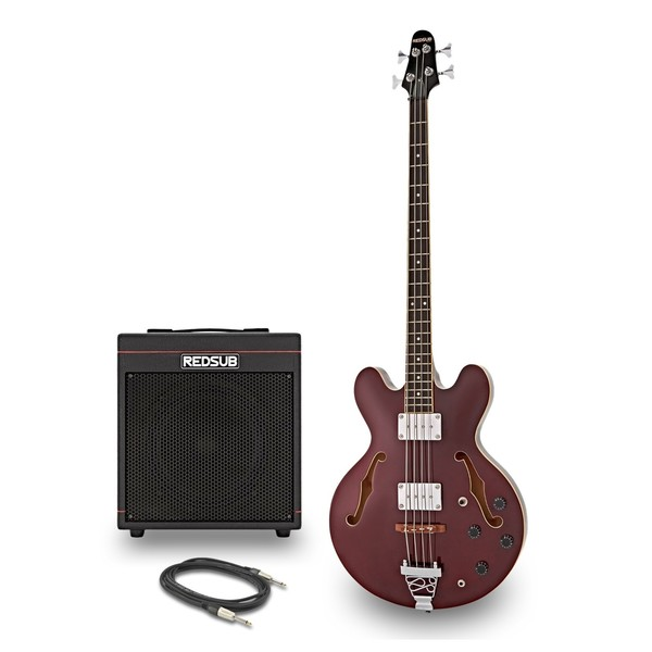 RedSub HB Bass Guitar and BA-30 Amp Bundle, Red Wine