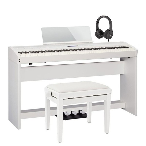 Roland FP 60 Digital Piano Deluxe Bundle, White