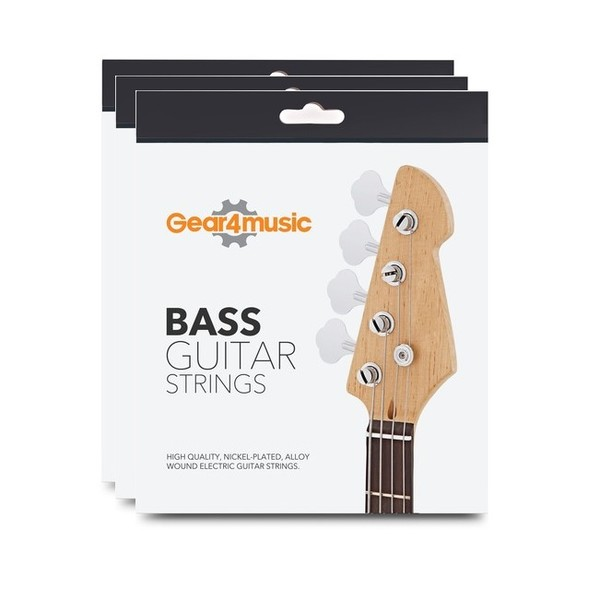 3 Pack of Bass Guitar String Set by Gear4music