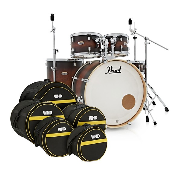 Pearl Decade Maple 22'' Drum Kit, Satin Brown Burst w/Bag Set