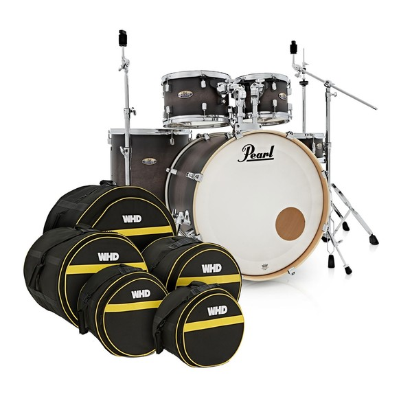 Pearl Decade Maple 22'' Drum Kit, Satin Blackburst w/Bag Set
