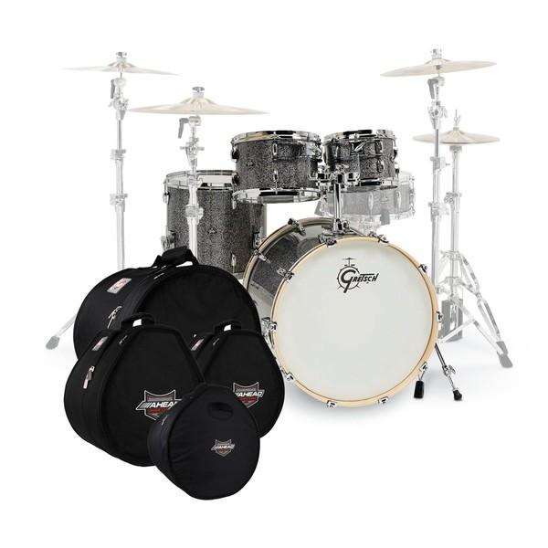 Gretsch Renown Maple 20'' 4pc Shell Pack, Blue Metal w/Bag Set
