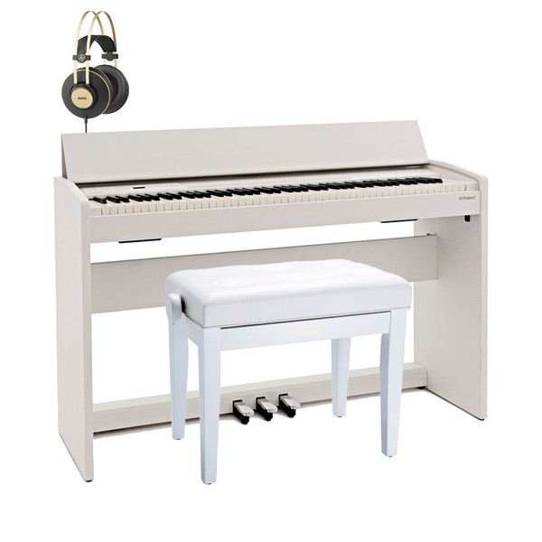 Roland F140R Digital Piano Premium Bundle, Contemporary White