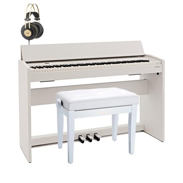 Roland F140R Digital Piano Premium Bundle, Contemporary White