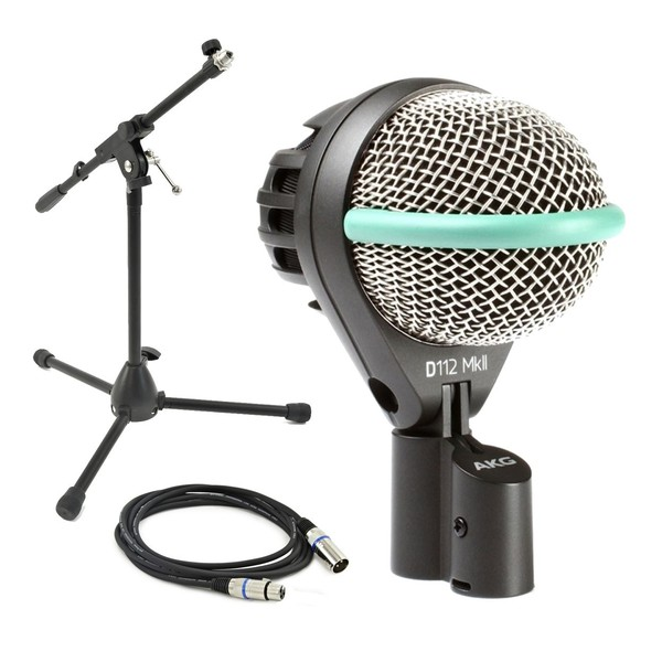 AKG D112 MKII Kick Drum Mic with Low Mic Stand and XLR Cable
