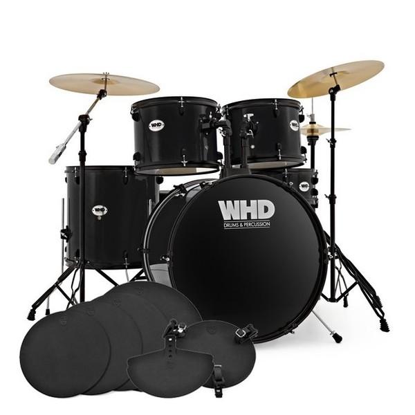 WHD Genesis Complete Drum Kit + Practice Pack, Jet Black