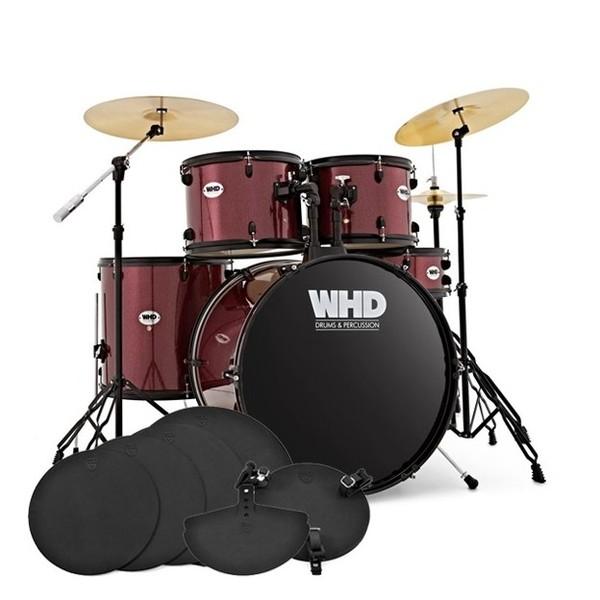 WHD Genesis Complete Drum Kit + Practice Pack, Burgundy Sparkle