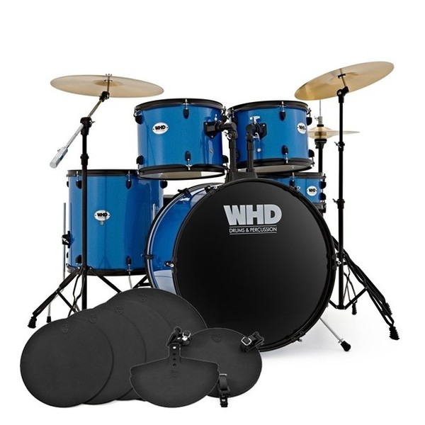 WHD Genesis Complete Drum Kit + Practice Pack, Sky Blue Sparkle