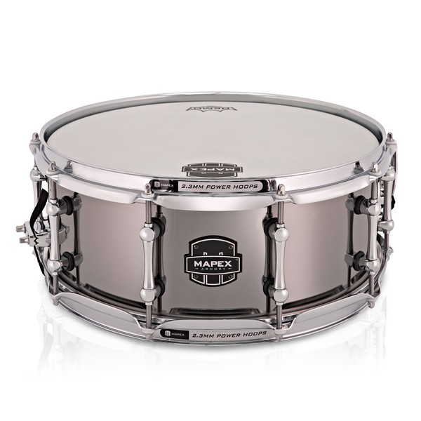 Mapex The Tomahawk 14 x 5.5in Polished Steel Snare Drum, Black Plated main