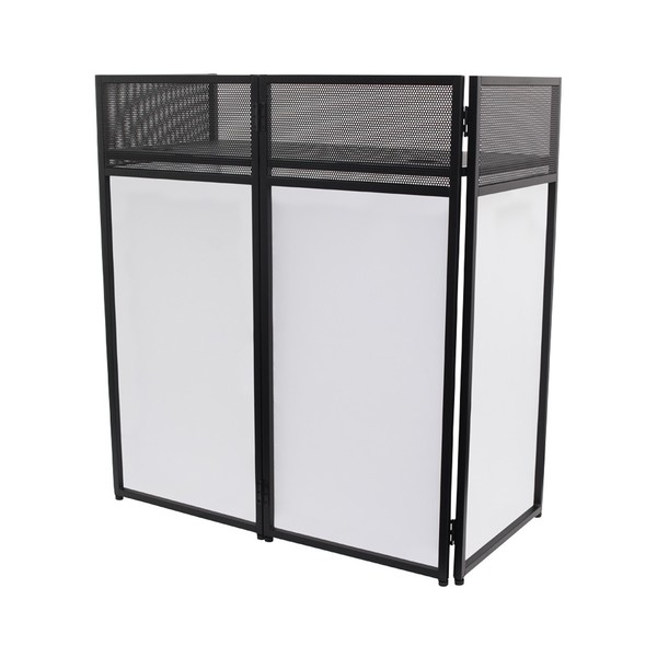 Equinox Combi Booth Foldable DJ Booth System, Front Angled Left with White Lycra