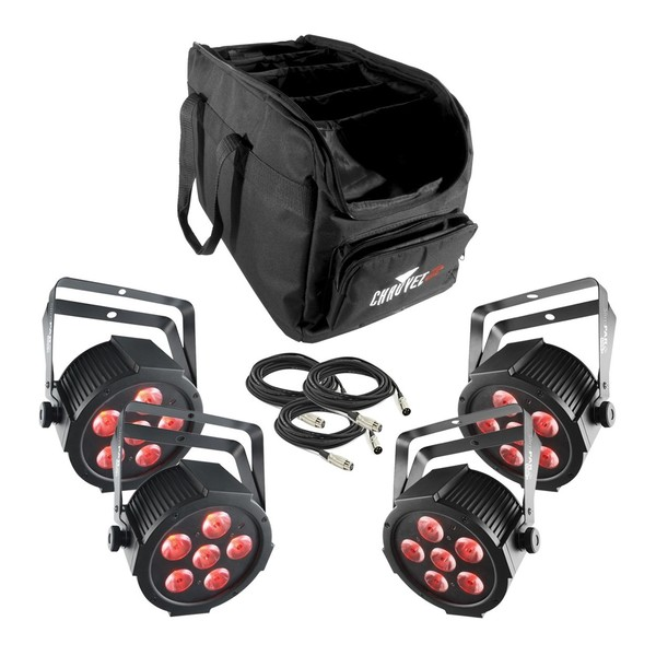 Chauvet DJ SlimPAR Q6 USB LED Par Can - Set of 4 with Bag & Cables