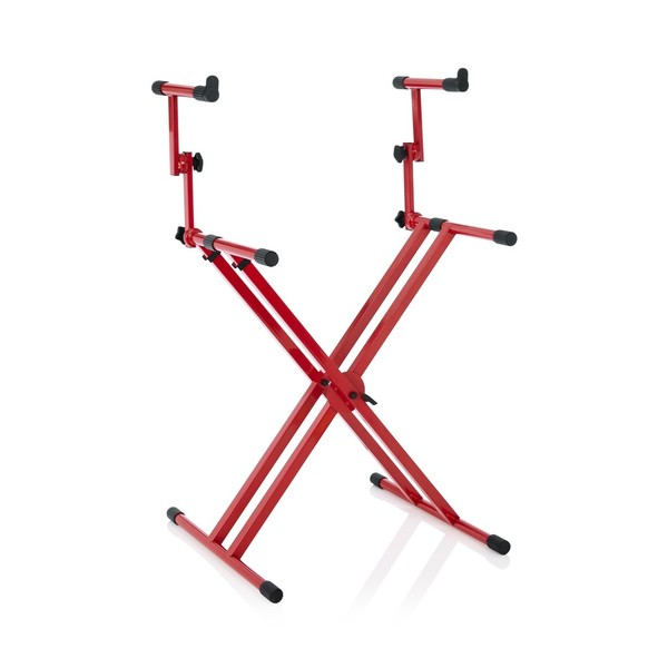 Frameworks GFW-KEY-5100XRED Deluxe 2-Tier X-Style Keyboard Stand, Red, Angled
