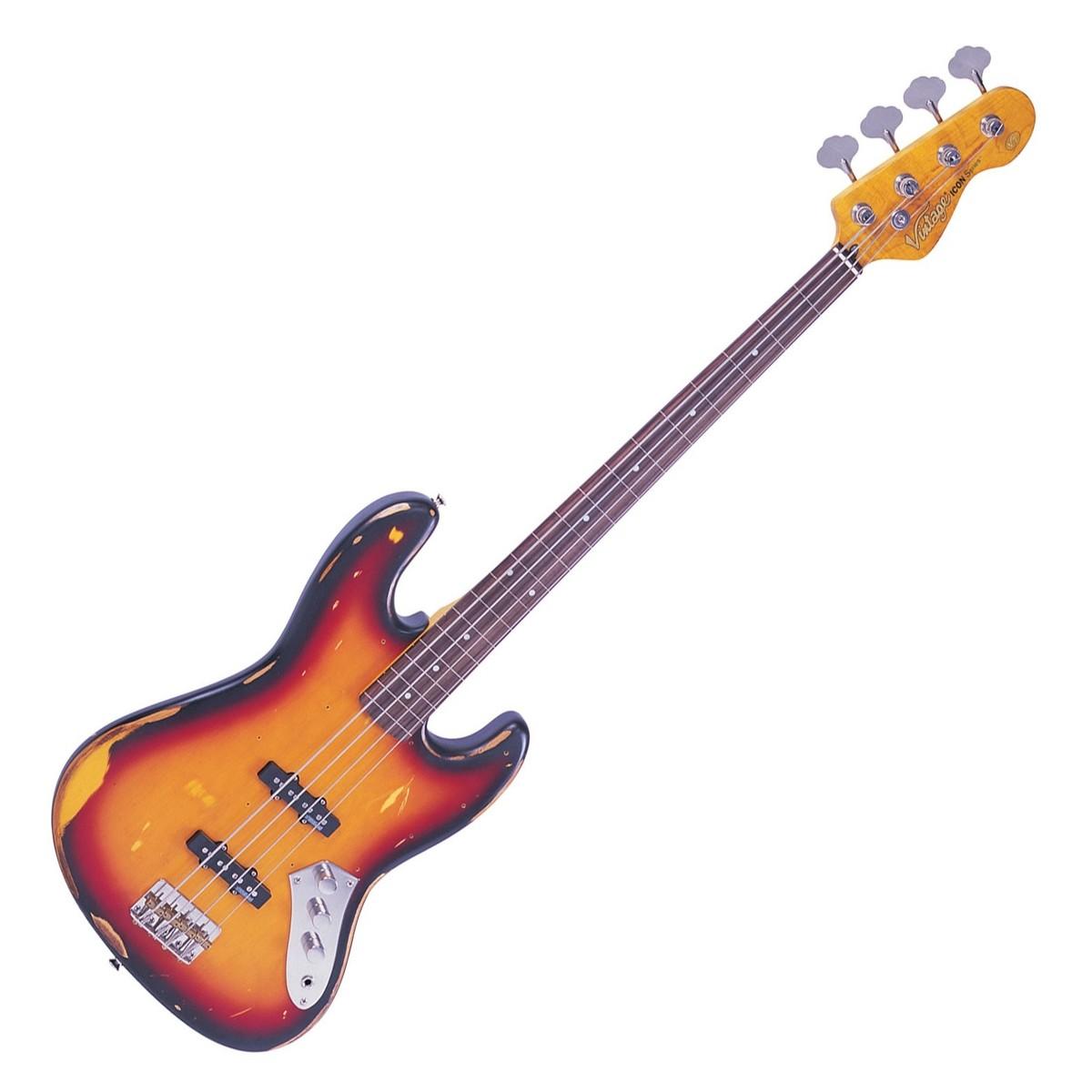 Vintage V74 Icon Fretless Bass Sunburst