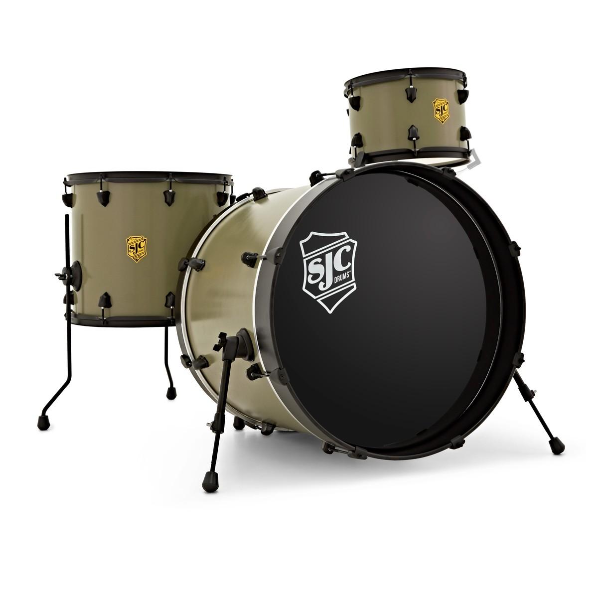 SJC Drums Josh Dun Bandito 22'' 3pc Shell Pack, Trench Olive, Black HW