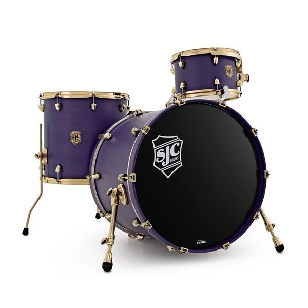"SJC Drums Navigator 22"" 3pc Shell Pack, Royal Purple Stain, Brass HW"