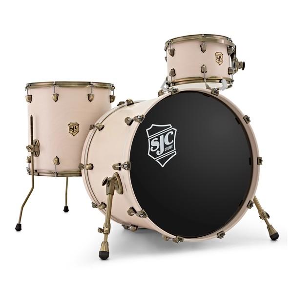 "SJC Drums Navigator 22"" 3pc Shell Pack, Antique White, Antq Brass HW main"