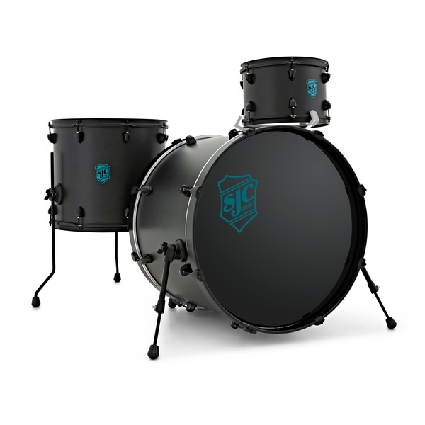 "SJC Drums Pathfinder 22"" 3pc Shell Pack, Midnight Black, Black HW main"