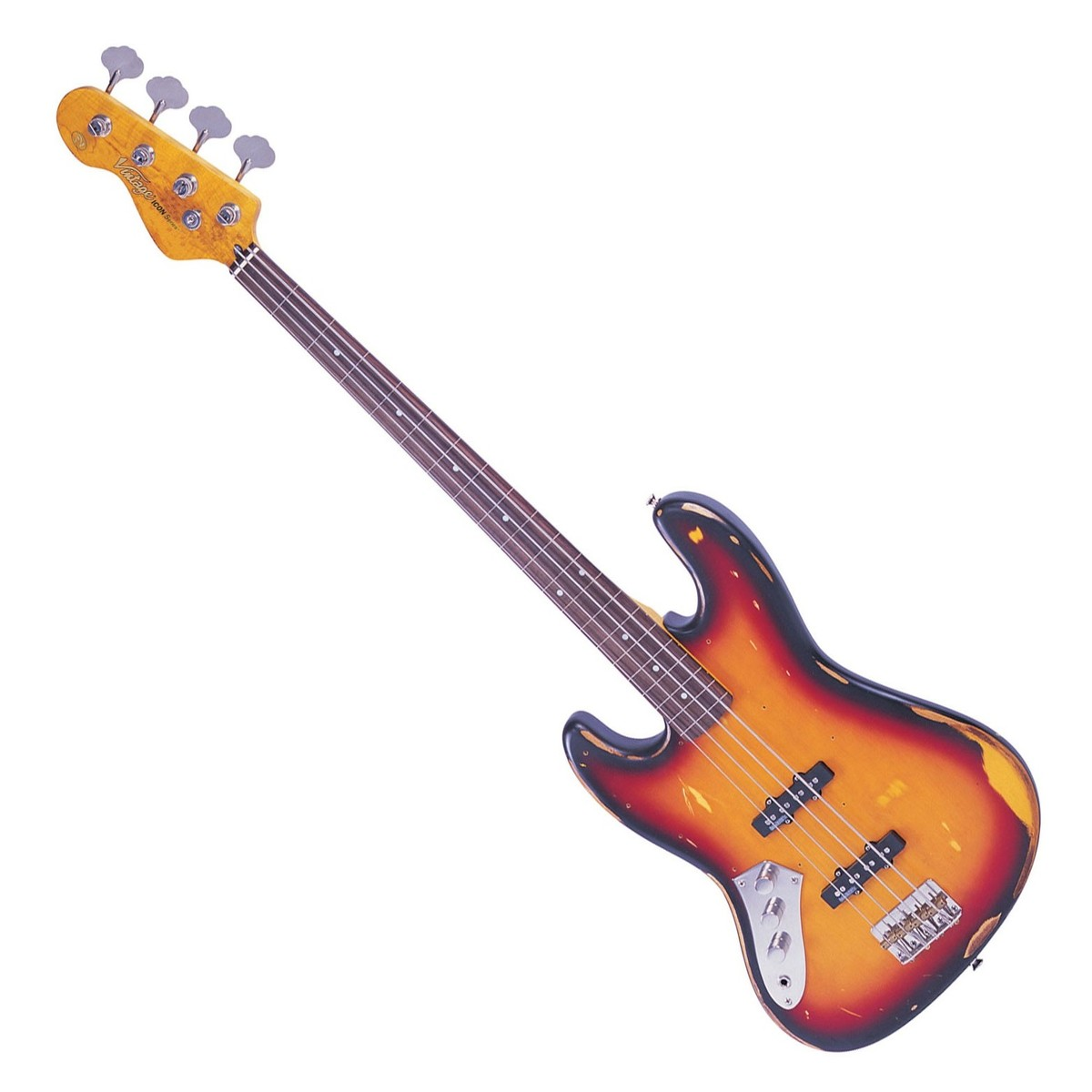Click to view product details and reviews for Vintage V74 Icon Left Handed Fretless Bass Sunset Sunburst.