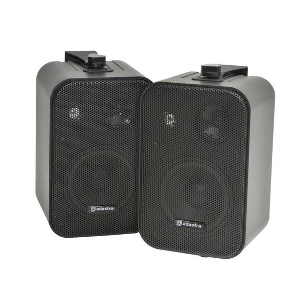 Adastra 4'' 100V Line Background Speakers, Black, Front Angled