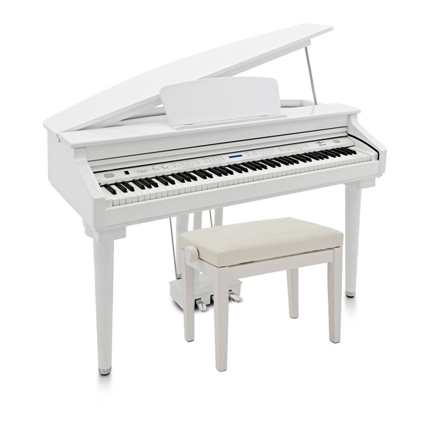 GDP-200 Digital Grand Piano with Stool by Gear4music, Gloss White