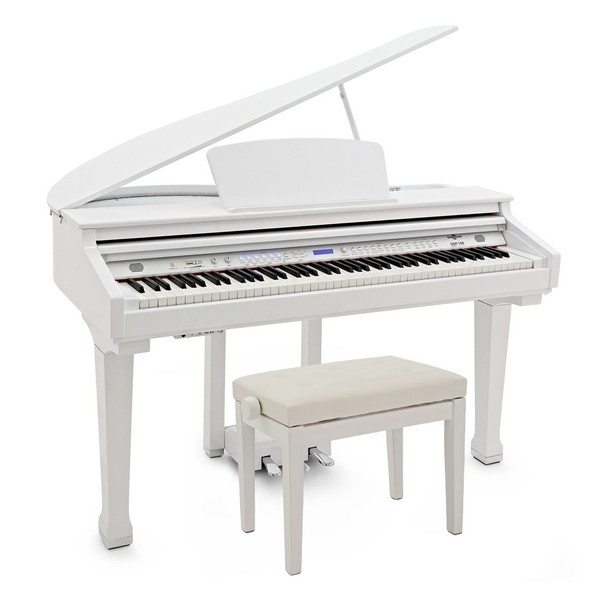 GDP-100 Digital Grand Piano with Stool by Gear4music, Gloss White