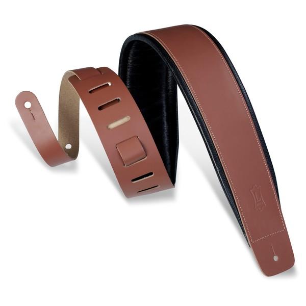 Levys DM1 Padded Leather Strap, Walnut