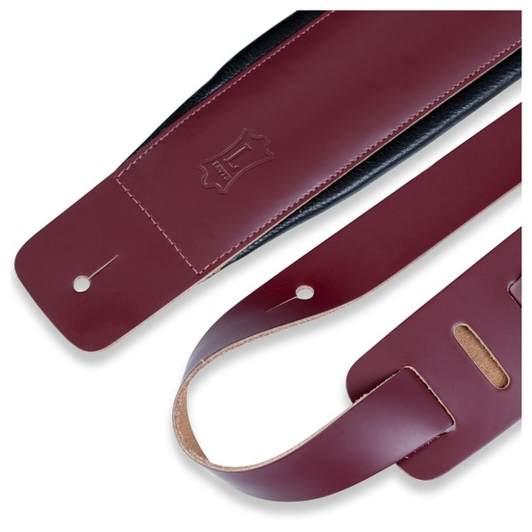 Levys DM1 Padded Leather Strap, Burgundy Closeup