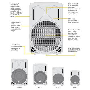 Behringer B208D-WH Eurolive Active PA Speaker, White (Front Guide)
