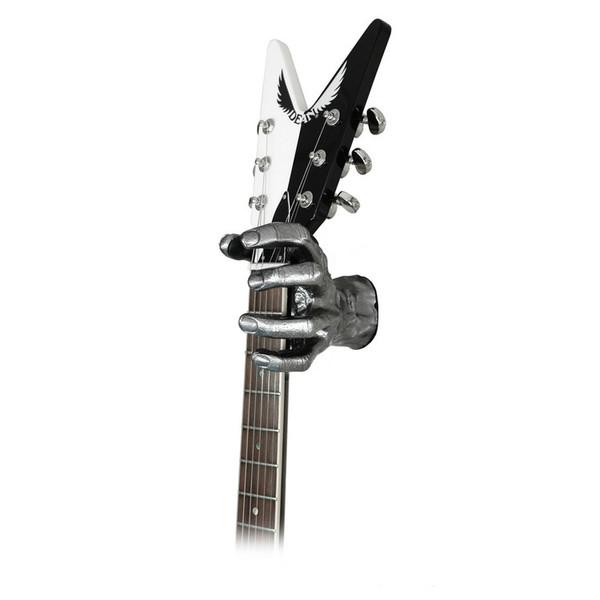 Grip Studios GS-1 Custom Guitar Hanger, Metal Mayhem, Left Hand with Guitar