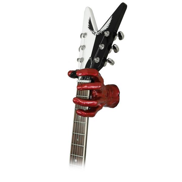 Grip Studios GS-1 Custom Guitar Hanger, Red Rum, Left Hand with Guitar