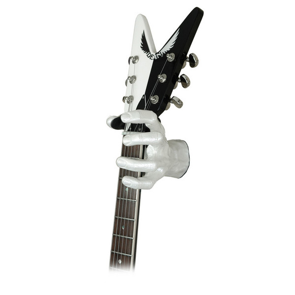 Grip Studios GS-1 Custom Guitar Hanger, Pearl White, Left Hand with Guitar