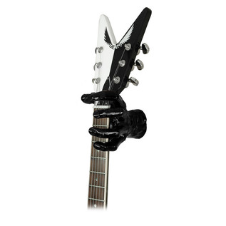 Grip Studios GS-1 Custom Guitar Hanger, Black Pearl, Left Hand with Guitar