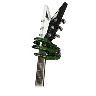 Grip Studios GS-2 Custom Guitar Hanger, Monster Green, Left Hand with Guitar