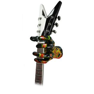 Grip Studios Air Brushed Custom Guitar Hanger, Scoppio, Left Hand with Guitar