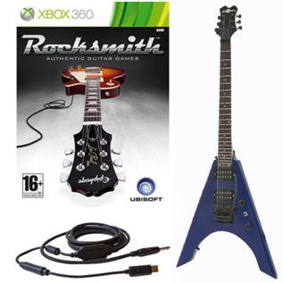 Ubisoft Rocksmith + Metal-V Electric Guitar, Blue Xbox Package