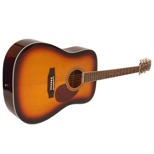 Freshman FA1DSBS Dreadnought Acoustic Guitar, Sunburst with Hardcase Side