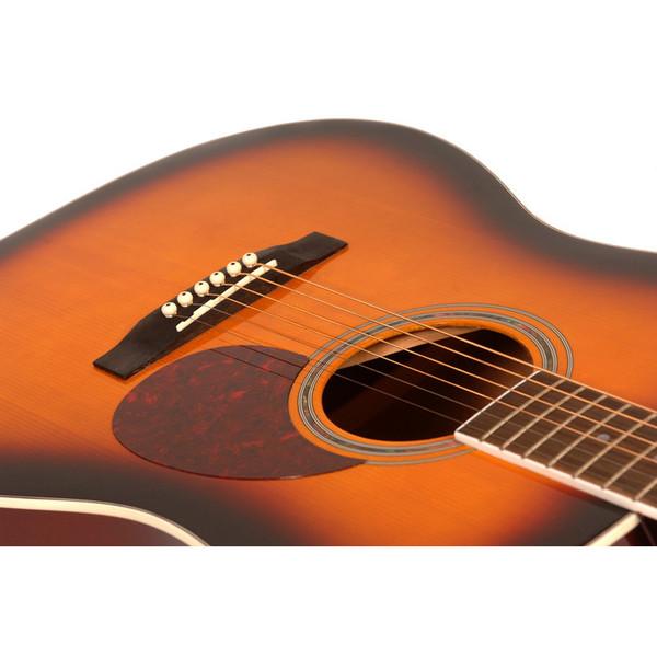 Freshman FA1DSBS Dreadnought Acoustic Guitar, Sunburst with Hardcase Soundhole